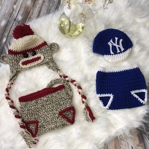 Other - Bundle of crocheted diaper covers and hats